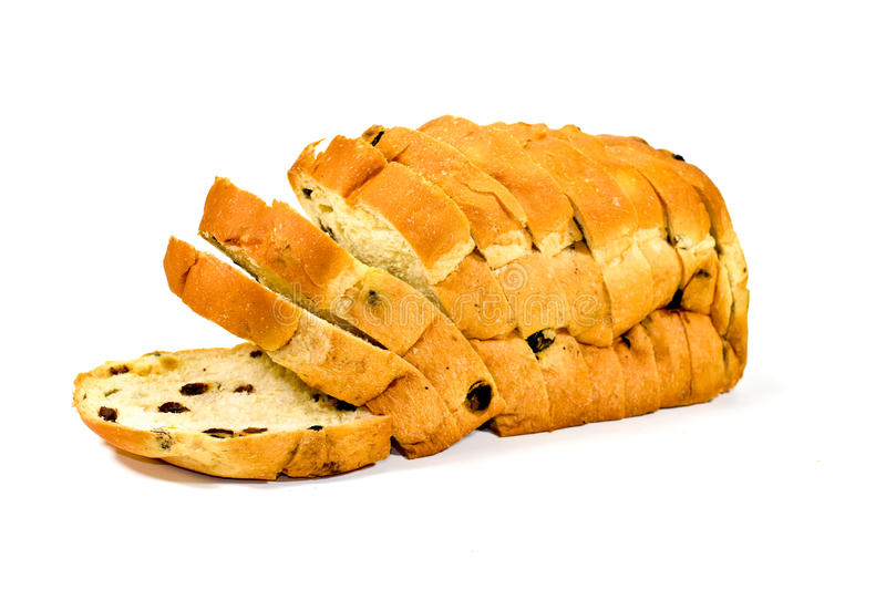 Sliced Raisin Bread on White Background stock photography