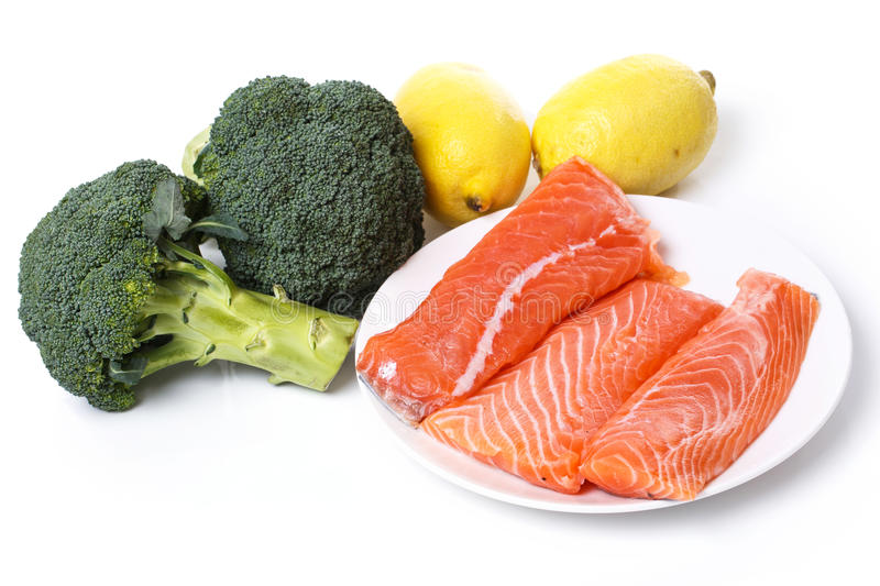 Sliced, raw salmon stock images