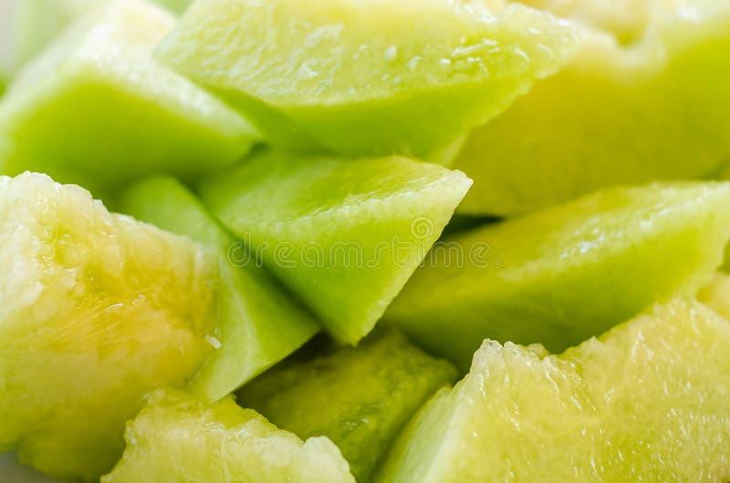 Sliced ripe cantaloupe stock images