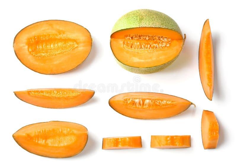 Sliced ripe melon on background. Sliced ripe melon on white background royalty free stock photo