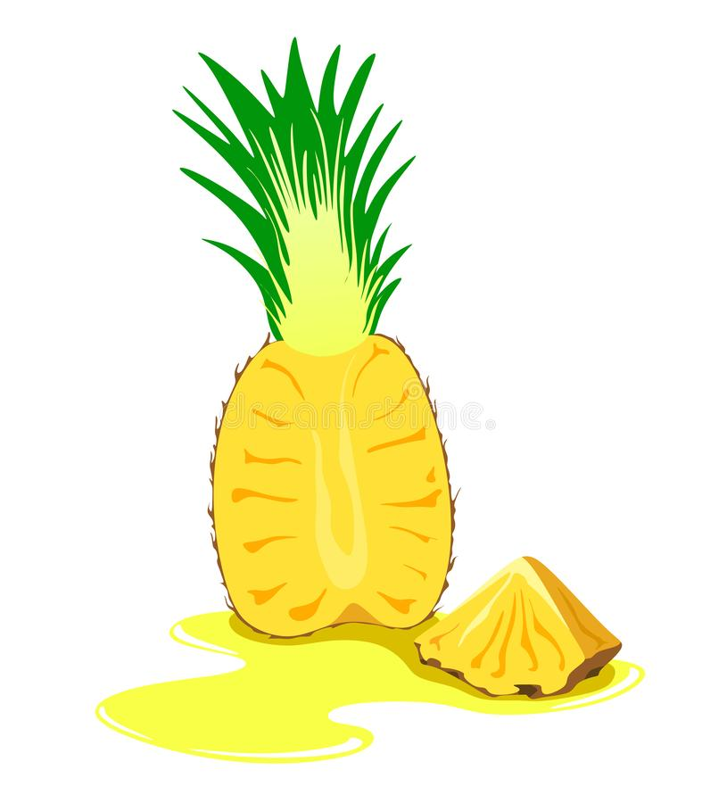 Sliced ripe pineapple with a slice and juice on a white background. Vector fruit illustration royalty free illustration