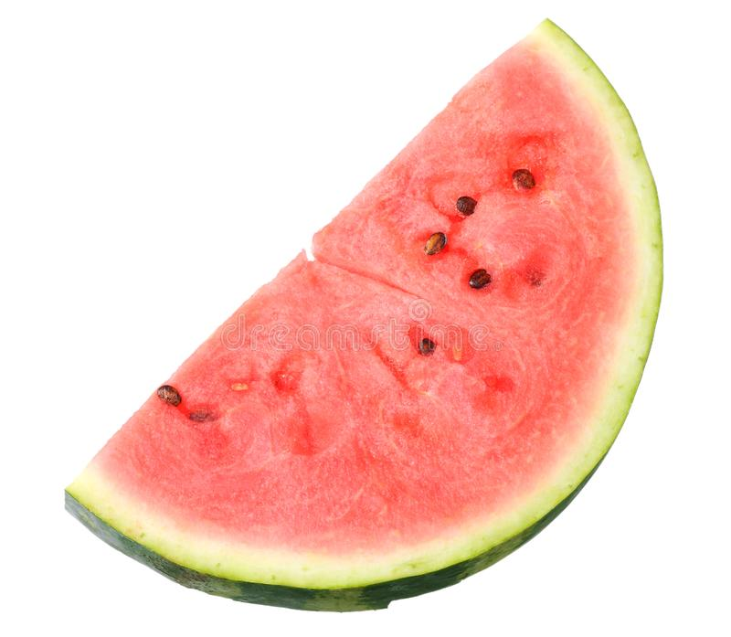Sliced ripe watermelon isolated on white background. top view royalty free stock photography