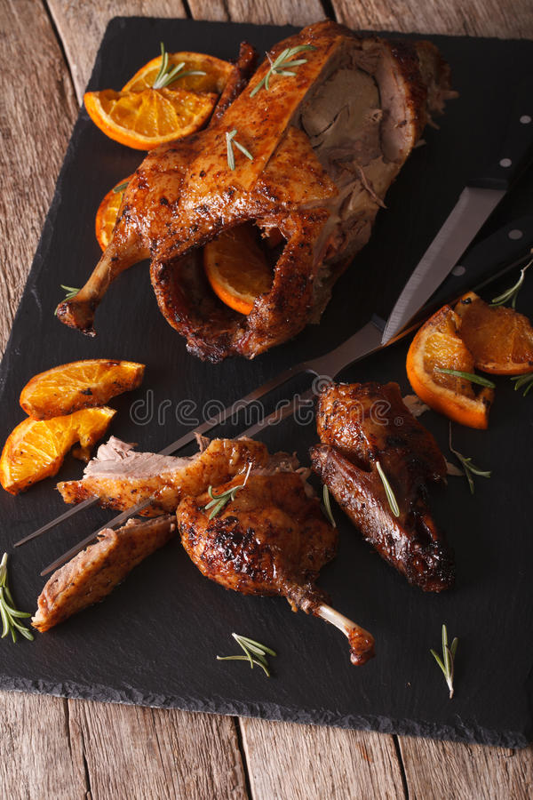 Free Sliced Roasted Duck Closeup On A Slate Board On The Table. Vertical Royalty Free Stock Photos - 62245898