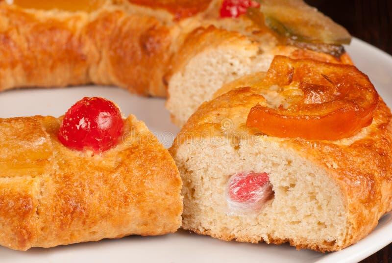 Sliced roscon de Reyes stock photography