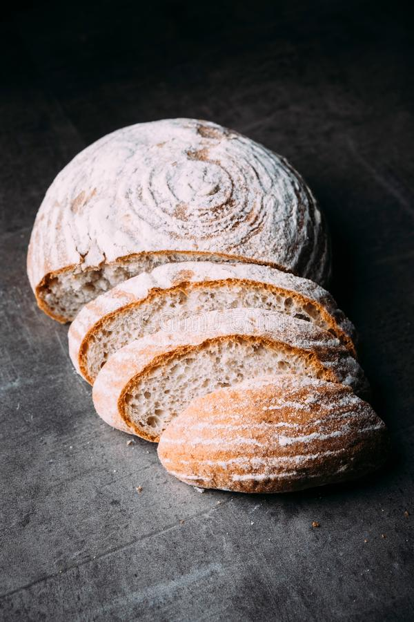 Sliced round sourdough bread royalty free stock image
