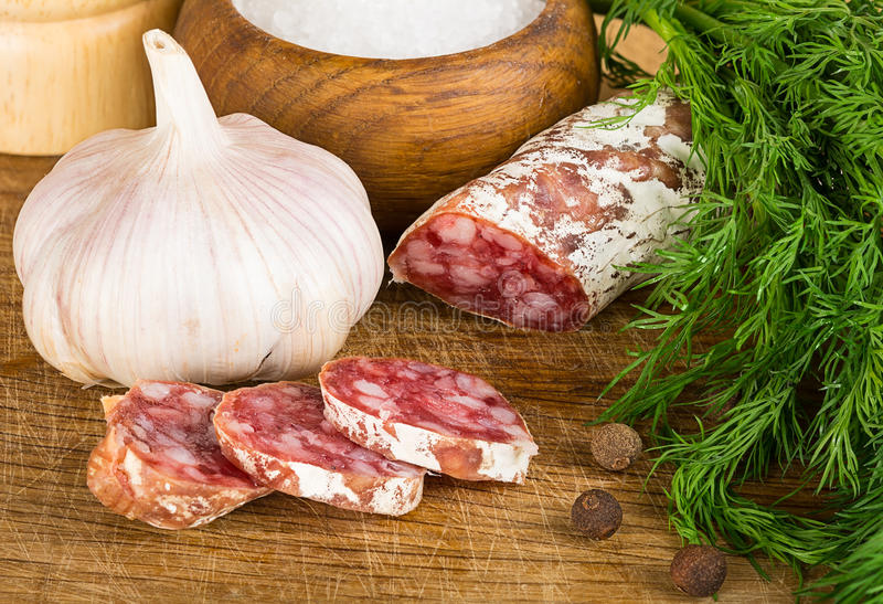 Download Sliced Salame On Cutting Board, With Dill, Pepper, Salt Stock Image - Image: 37961323