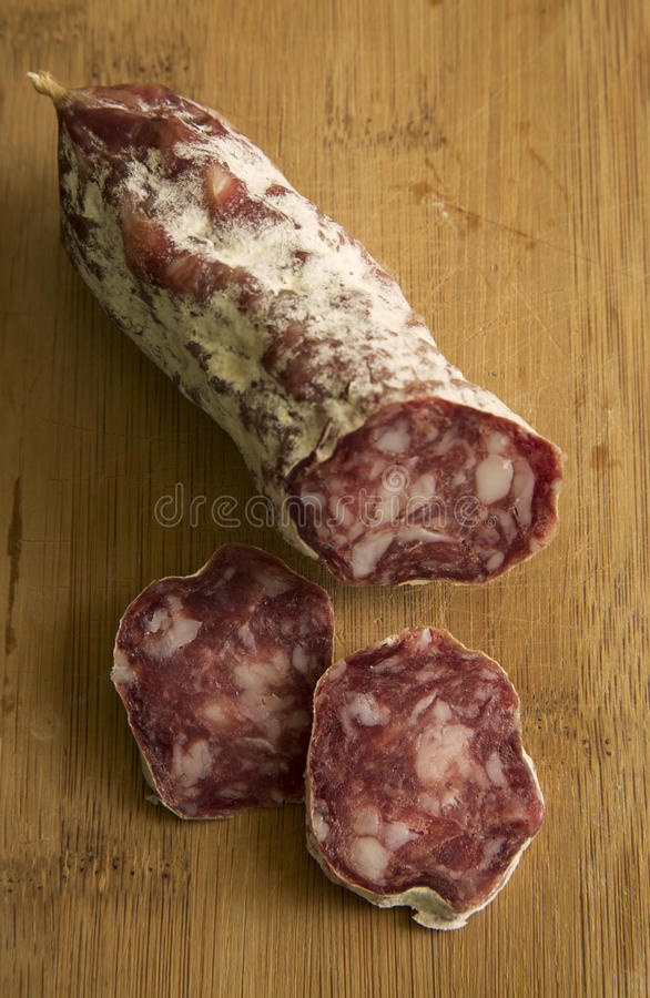 Sliced salami royalty free stock photo