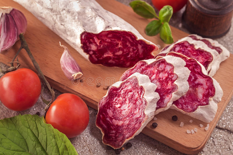Sliced salchichon sausage stock image