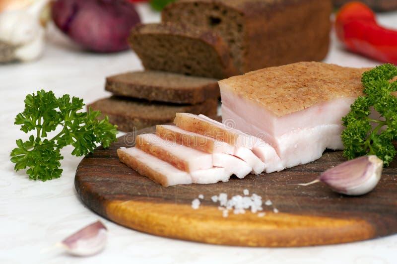 Sliced salted pork lard (salo) stock photos