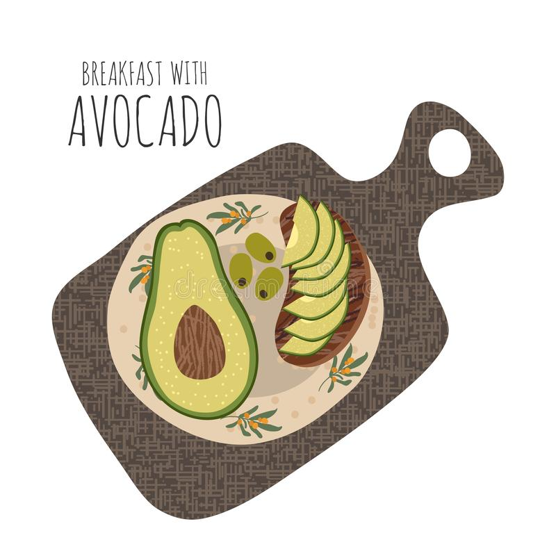 Sliced sandwich with avocado in a plate on a cutting board. Cartoon hand-drawn flat vector illustration isolated on white. Background royalty free illustration