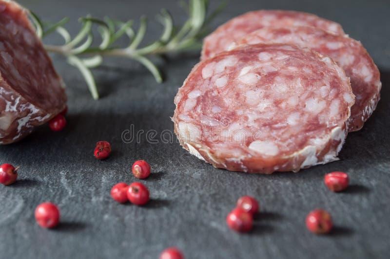 Download Sliced Sausage On Chalkboard Background Stock Illustration - Image: 83710289