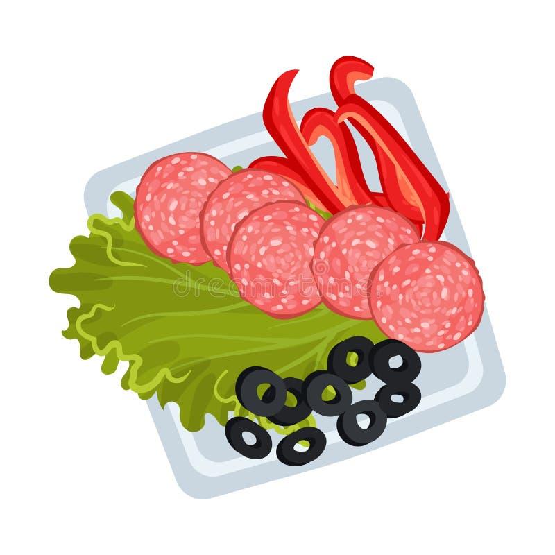 Sliced sausage, lettuce and vegetables on a square plate. Vector illustration. Sliced sausage, lettuce, chopped red pepper and olives on a square plate. Vector stock illustration