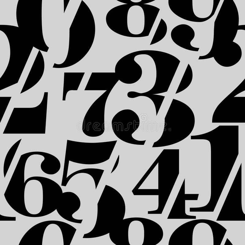Sliced Serif Numbers Seamless Pattern, Mathematics Background royalty free illustration