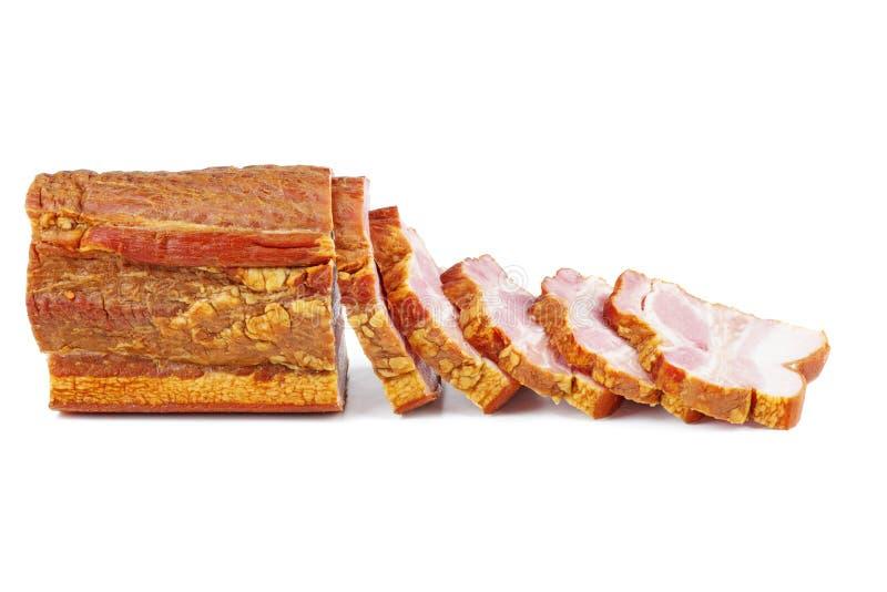 Sliced smoked ham piece royalty free stock image