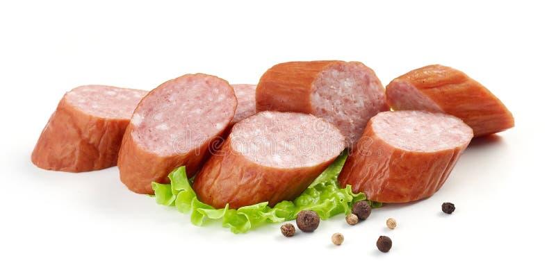 Sliced smoked sausage stock photo