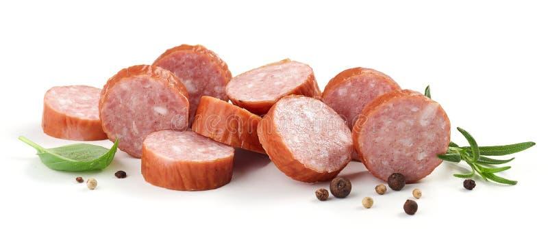 Sliced smoked sausage stock photos