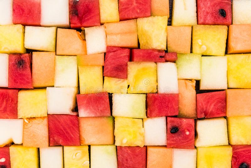 Sliced Square Pieces of Melon and Watermelon,Diet Salad,Creative Food Serving stock image