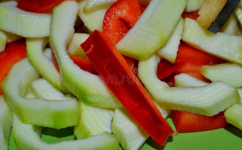 sliced-squash-and-red-bell-pepper stock photos