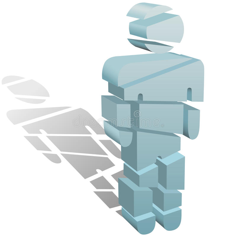 Sliced symbol person cut up in pieces. A 3D symbol person cut or sliced up into many pieces vector illustration