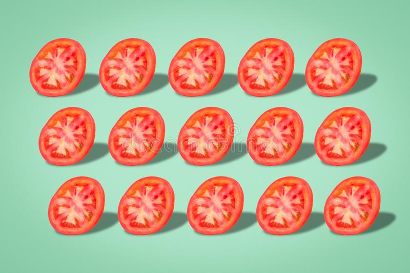Sliced tomato set, nutritious and healthy food royalty free stock images
