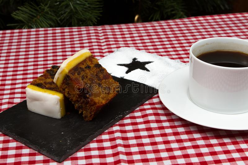 Traditional British Birthday Or Christmas Fruit Cake Stock Photo