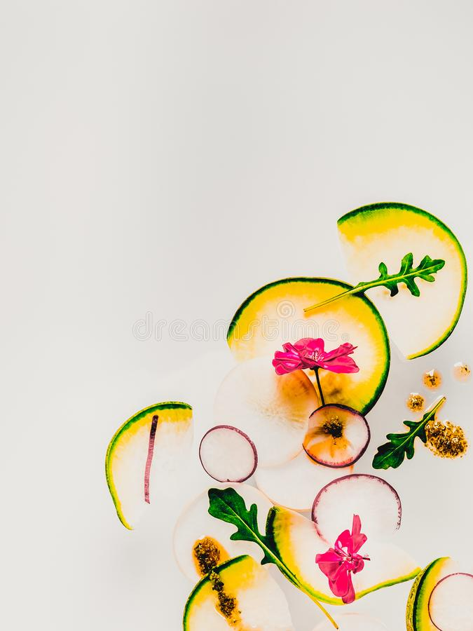 Background with Sliced vegetables on light surface royalty free stock photo