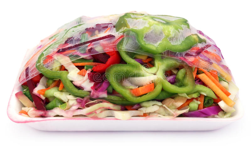 Sliced vegetables packed royalty free stock images
