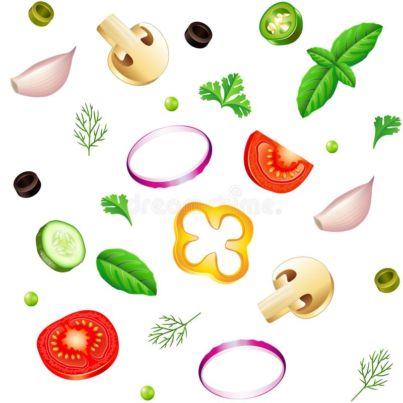 Sliced vegetables seamless background isolated vector. Sliced vegetables seamless background photo-realistic vector illustration royalty free illustration