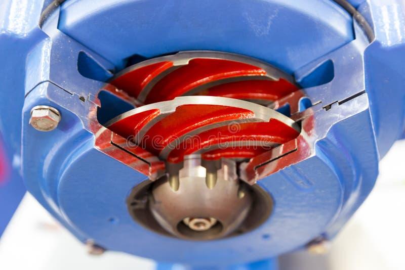 Sliced water turbine. Inside blades view stock photos