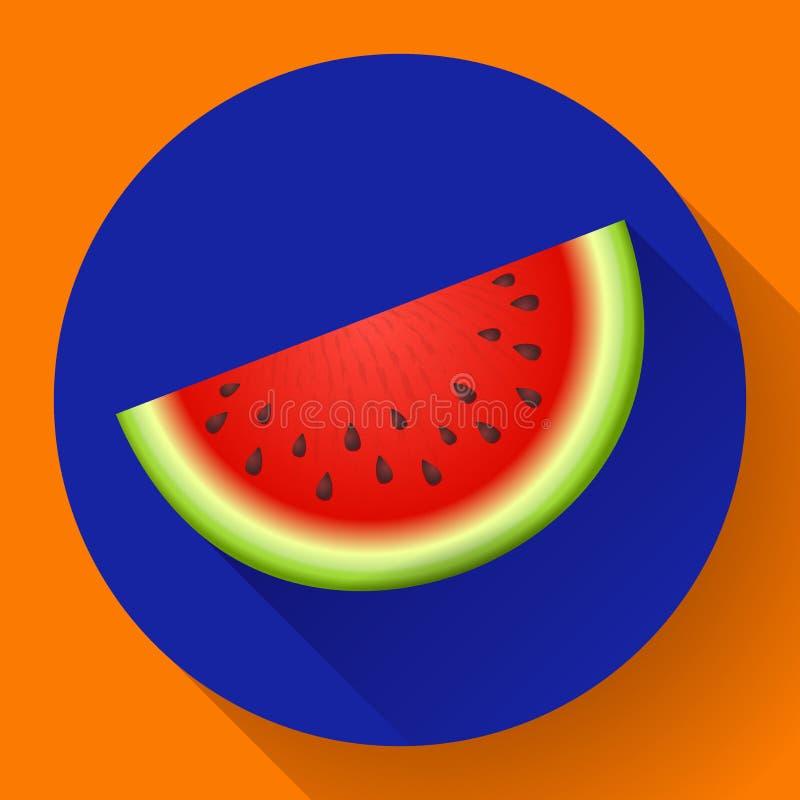 Watermelon icon vector. Sliced of watermelon vector flat fruit icon stock illustration
