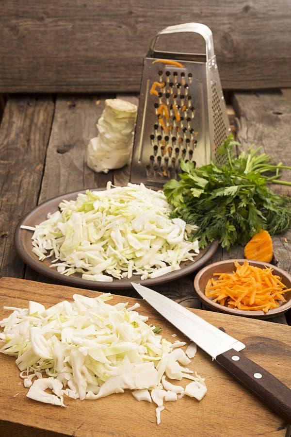 Sliced white cabbage for preparing salad or sauerkraut royalty free stock image
