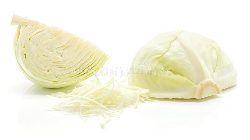 White cabbage on white. Sliced white cabbage quarter, chopped stack and one half on white background stock photos