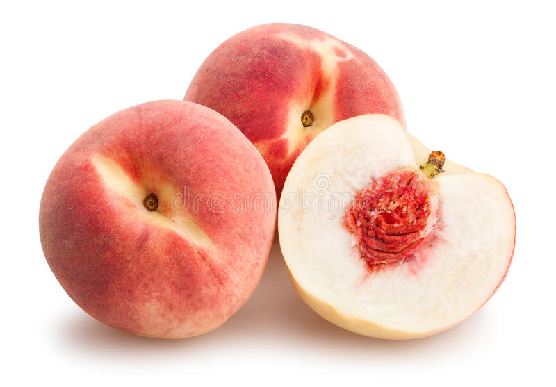 Sliced white peach stock images