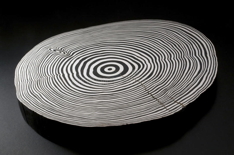 Sliced Wood With Black And White Annual Rings Stock Photo