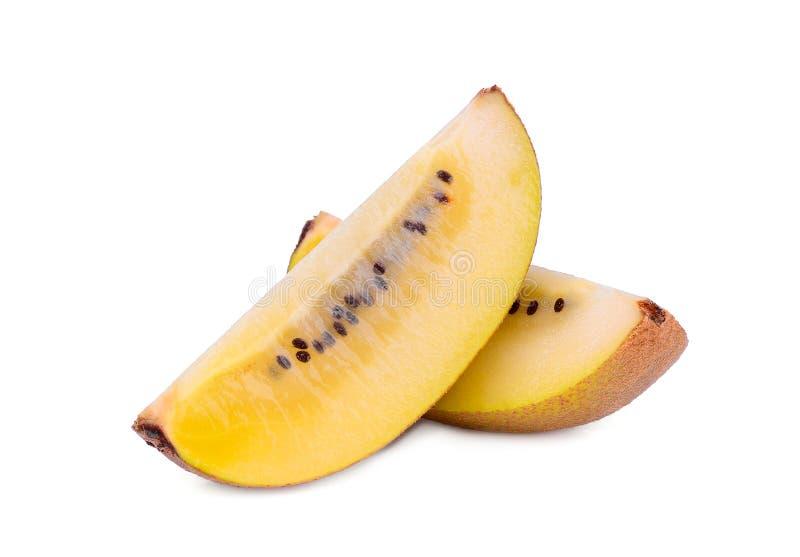 Sliced yellow kiwi fruit isolated on white royalty free stock photo
