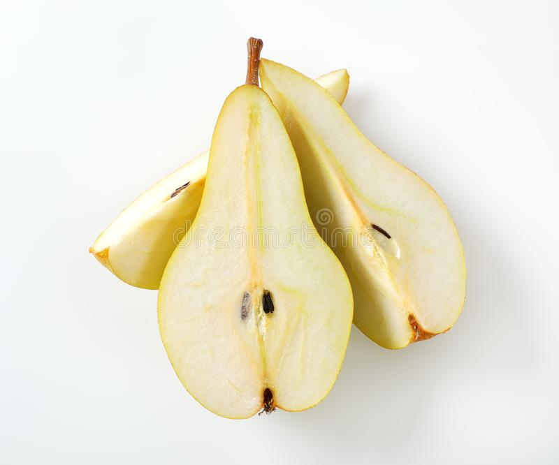Sliced yellow pear royalty free stock images