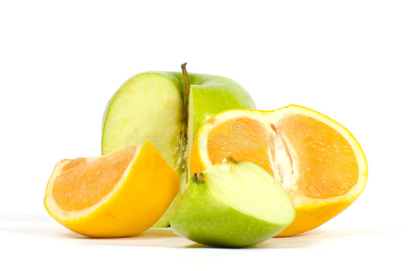 Download Slices of apple and orange stock image. Image of share - 18000449