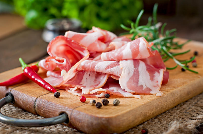 Slices of bacon royalty free stock photography