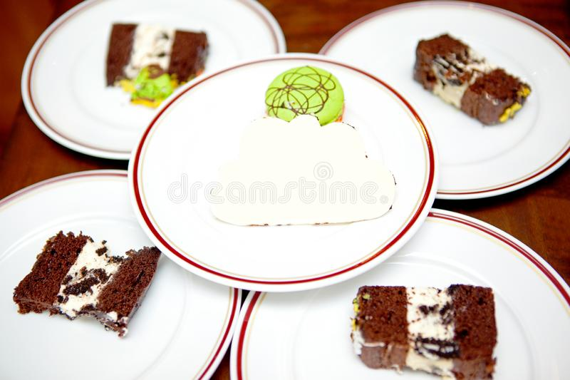 The Slices Of Birthday Cakes. With The Greeting White Chocolate royalty free stock photos