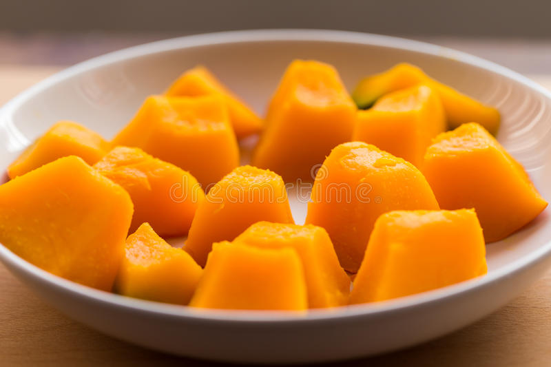 Slices of boiled pumpkin stock photography
