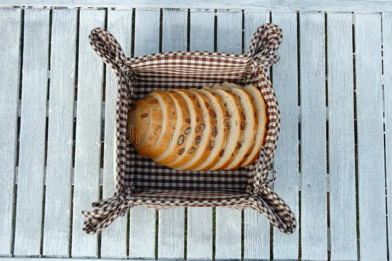 Slices of bread. Inside bread bin royalty free stock images