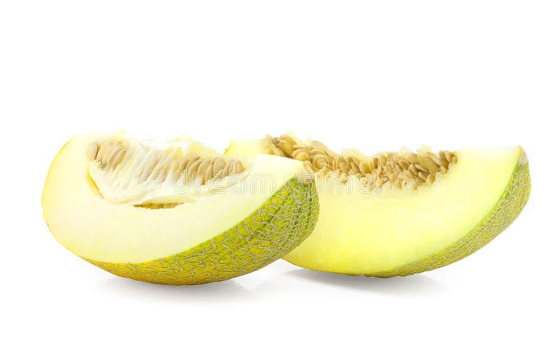 Slices of Cantaloupe melon. On white background stock photo