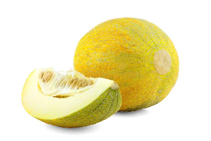 Slices of Cantaloupe melon. On white background stock image