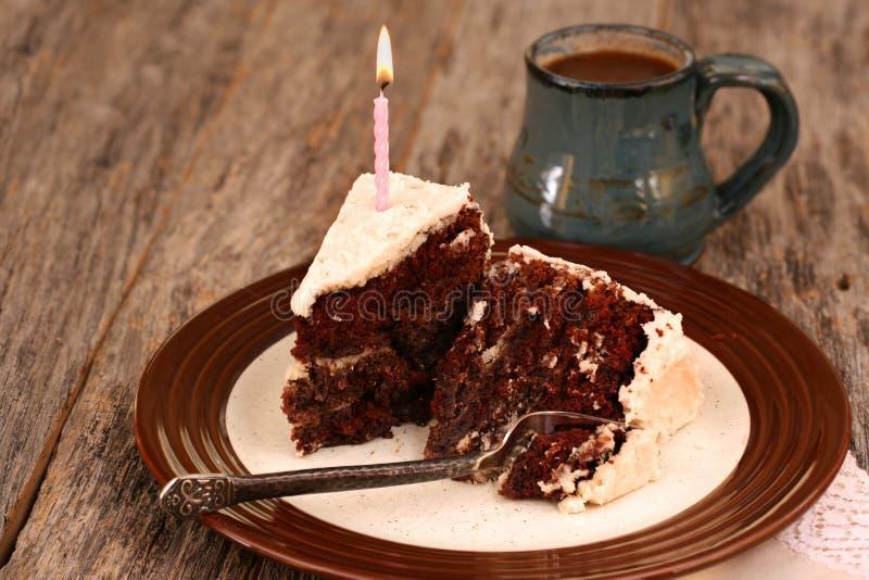 Slices of chocolate cake stock photos