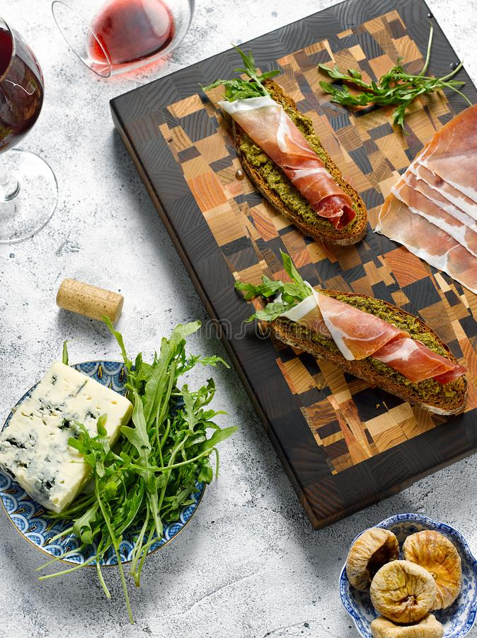 Slices of dark bread with jamon royalty free stock image