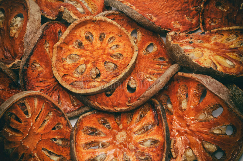Slices of dried bael fruit royalty free stock photography