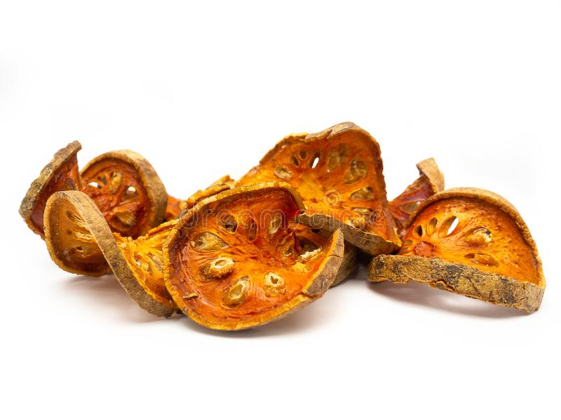 Slices of dried bael fruit. royalty free stock photos