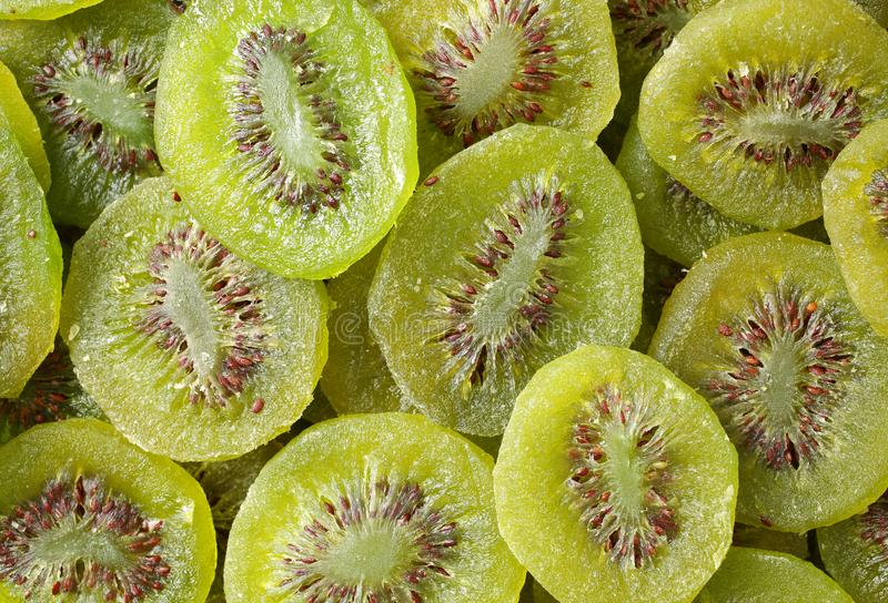 Slices Of Dried Kiwi Fruit, Image Was Shot From Above Forming stock photos