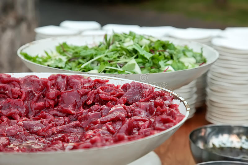 Slices Of Fresh Raw Meat Royalty Free Stock Image