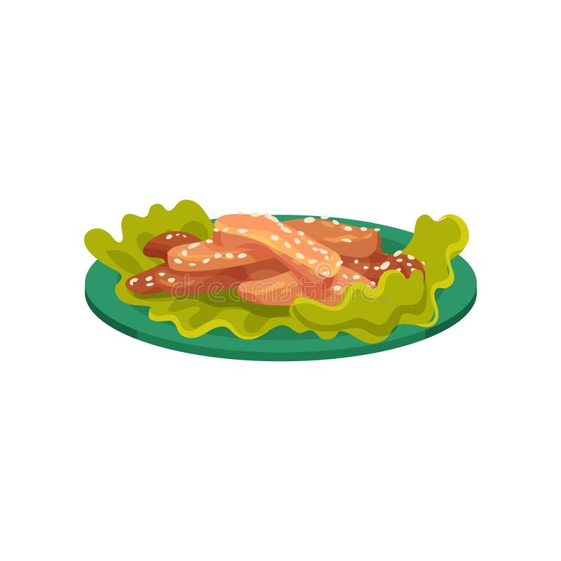 Slices of fried chicken with sesame seeds served with lettuce leaves on a plate, tasty poultry dish vector Illustration vector illustration